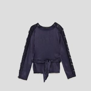 Zara Top Blouse with Lace Black Navy size XS 0